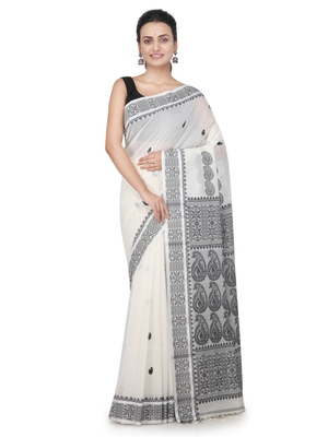 White hand woven khadi saree with blouse