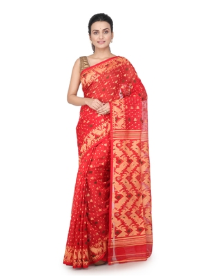 Red hand woven pure cotton saree
