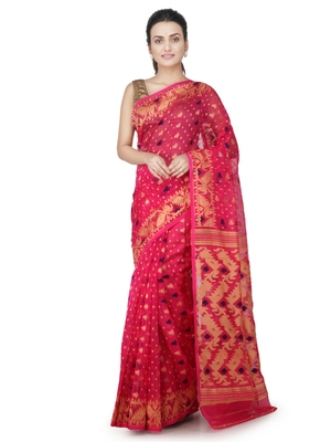 Pink hand woven pure cotton saree