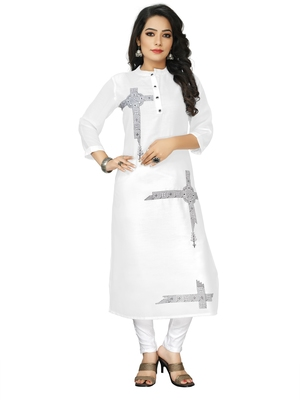 White Embroidered Cotton Blend Straight Kurtis