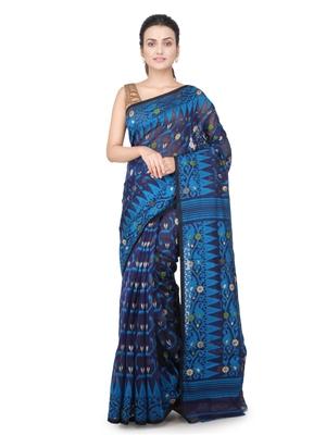 Blue hand woven pure cotton saree