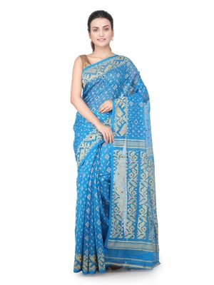 Turquoise hand woven pure cotton saree