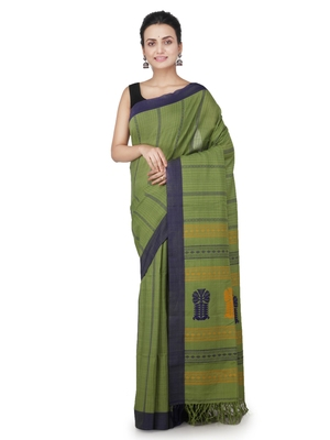Green hand woven pure cotton saree with blouse