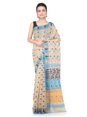 Beige hand woven pure cotton saree