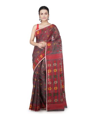 Grey hand woven pure cotton saree