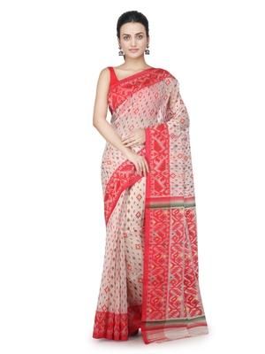 Off white hand woven pure cotton saree
