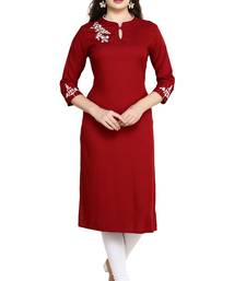 Maroon Embroidered Rayon Straight Kurtis