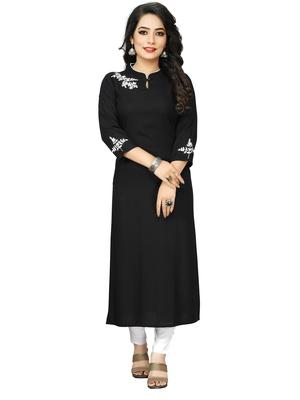 Black Embroidered Rayon Straight Kurtis
