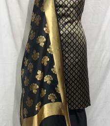 BLACK EMBROIDERY AND BROCADE CHANDERI AND COTTON UNSTITCHED SALWAR KAMEEZ WITH DUPATTA
