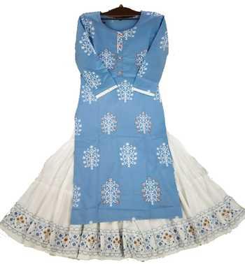 Royal Blue Colored Sharara Pattern Kurti Along With White Skirt