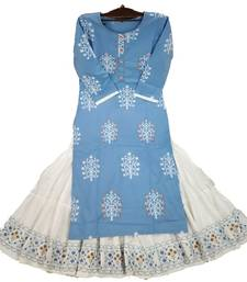Royal Blue Colored Sharara Pattern Kurti Along With White Skirt