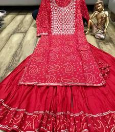 Red Colored Embroidery Worked Gotta Worked Kurti Along With Skirt