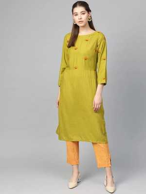Green Colored Yoke Design Viscose Rayon Straight Kurti