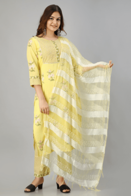 Yellow Colored Bright Cotton Kurta With Pant And Dupatta