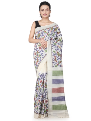 Off white hand woven silk saree with blouse