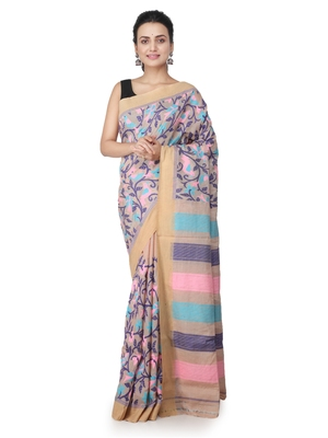 Beige hand woven silk saree with blouse
