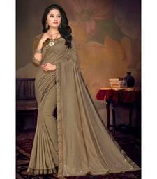 Indian Women Brown Vichitra silk Lace Work Designer Saree