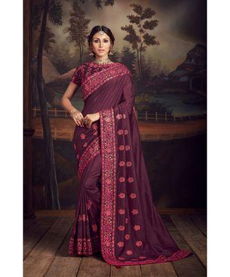 Indian Women Purple Poly Silk Heavy Embroidered Work Designer Saree