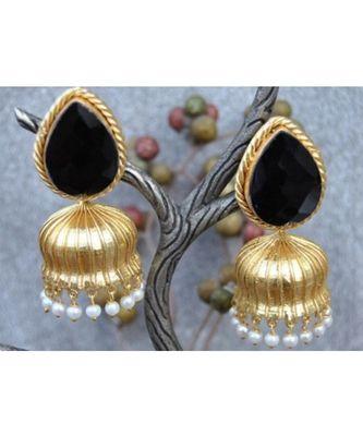 Black Melanite Garnet Paan 18K Gold Plated Jhumka Earrrings