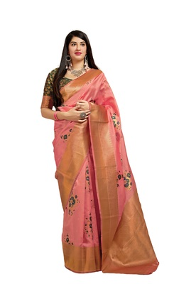 Peach printed banarasi silk saree with blouse