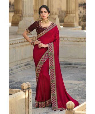 red silkbollywood sarees