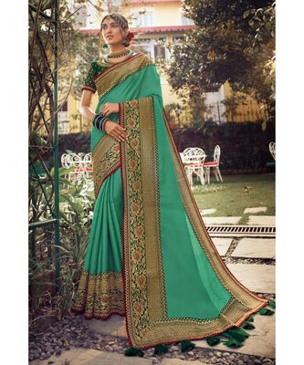 green pure_shimmerbridal sarees
