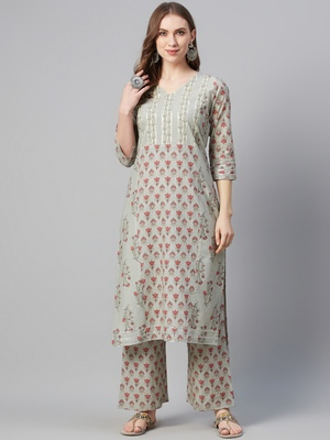 Grey printed cotton cotton-kurtis