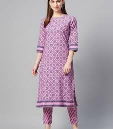 Lavender printed cotton cotton-kurtis