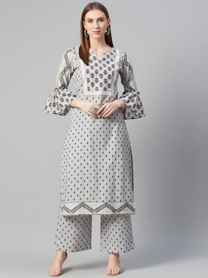 Grey printed cotton cotton-kurtis