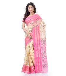 Pink woven cotton saree