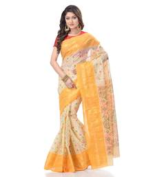 Yellow woven cotton saree