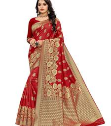 Mehrang Red woven silk saree with blouse