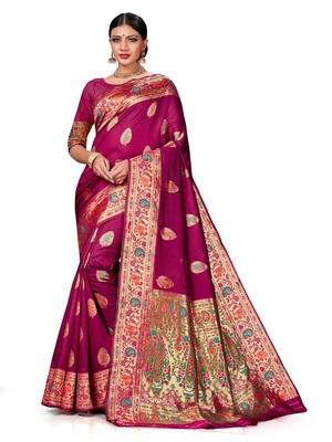 Mehrang Woven Kanjivaram Silk Blend Saree  (Purple)