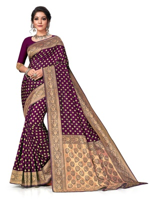 Mehrang Purple Woven Banarasi Silk Saree with Blouse