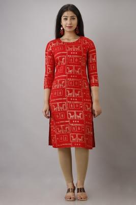 UseCart Rayon gold printed kurta & kurti red