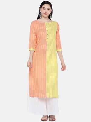 Orange printed cotton long-kurtis