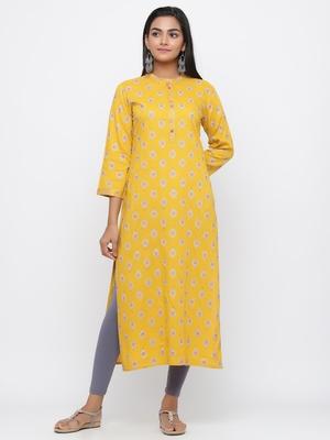 Mustard printed rayon long-kurtis