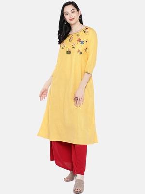 Yellow embroidered cotton long-kurtis
