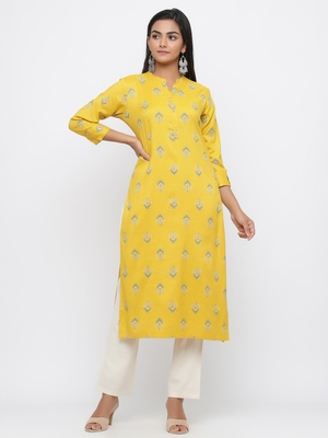 Yellow printed rayon kurti-trouser