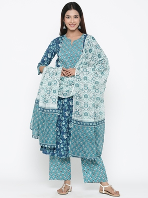 Sea green printed cotton kurta-sets