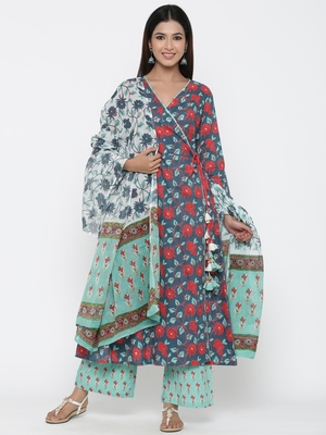 Green printed cotton kurta-sets