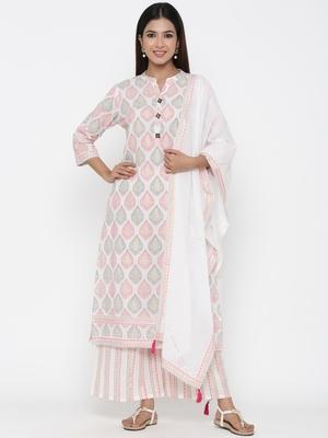 Off white printed cotton kurta-sets