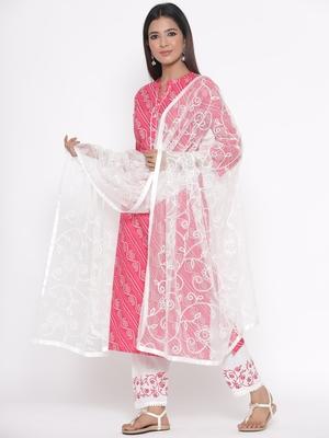 Pink embroidered cotton palazzo-kurta