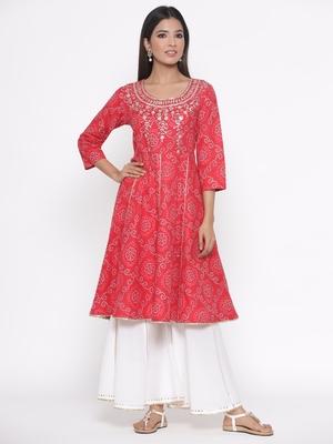 Red printed cotton palazzo-kurta