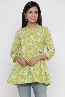 Green printed cotton long-kurtis