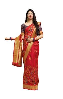 Light red woven banarasi silk saree with blouse