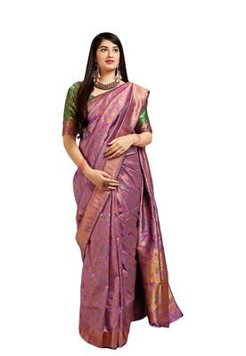 Lavender woven banarasi silk saree with blouse