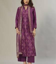 purple embroidered jacquard zari_work long-kurtis