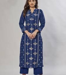 navy-blue embroidered jacquard zari_work long-kurtis