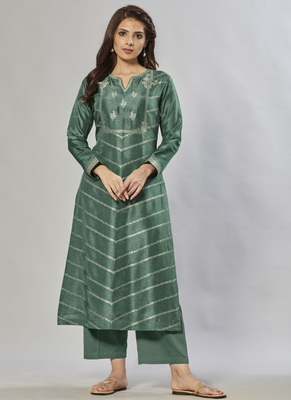 green embroidered jacquard zari_work long-kurtis